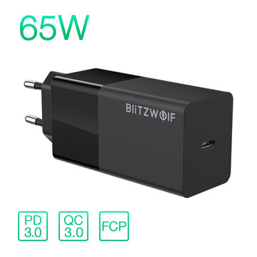BlitzWolf BW S17 65W USB C Charger PD3.0 Power Delivery Wall Charger With EU Plug Adapter For Smart Phone Tablet Laptop For iPhone 11 SE 2020 For iPad Pro 2020 MacBook Air 2020 Huawei Xiaomi