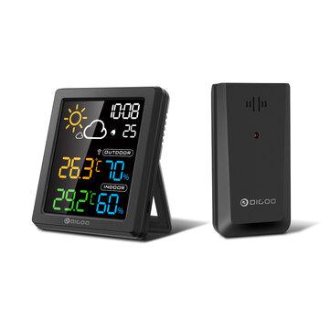 DIGOO DG_8647 Mini HD Color Screen LCD Weather Station Alarm Clock Smart Hygrometer Thermometer Snooze Dual Desktop Clock  Black