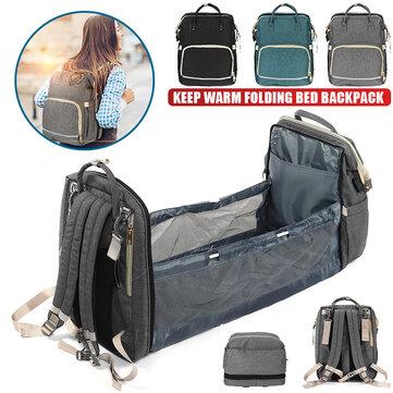 Multifunctional 2-IN-1 Large Capacity Foldable Travel Baby Infant Crib Diaper Macbook Storage Bag Backpack