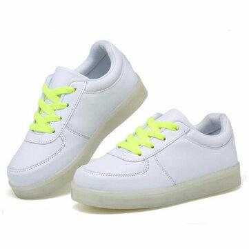Trẻ em Thiếu niên LED Light Sneakers PU Leather Kid Casual Shine Boy Girls Ren thể thao Giày cao su