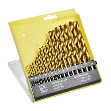 Drillpro 19pcs 1.0-10.0mm HSS Titanium Coated Twist Drill Bit Set for Metal Wood Drilling