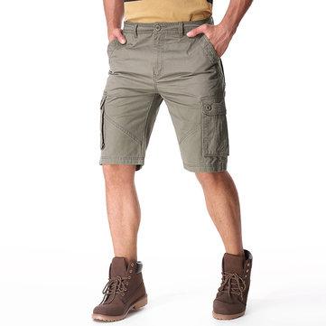 पुरुषों की आकस्मिक कपास बड़ी जेब ढीली कार्गो सैन्य शॉर्ट्स