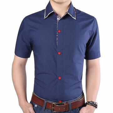 पुरुषों प्रिंटिंग सिलाई ग्रीष्मकालीन फैशन आरामदायक कपास स्लिम फिट लघु आस्तीन शर्ट