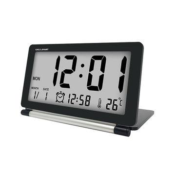Loskii DC-11 Electronic Alarm Reloj Travel Reloj Multifunción Silent LCD Digital Large Screen Escritorio plegable Reloj Con temperatura Fecha Hora Calendario