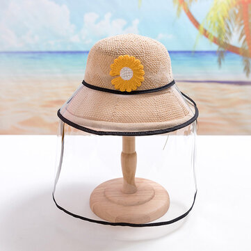 Chrysanthemum Straw Hat Childrens Sun Hat Removable Face Screen for sale in Litecoin with Fast and Free Shipping on Gipsybee.com