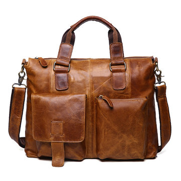 Ekphero Genuine Leather Crossboby Bag Retro Dual Use Big Capacity Handbag For Man