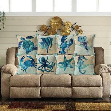 Honana 45x45cm Home Decoration Blue Sea Animal Printed 7 Optional Patterns Cotton Linen Pillowcases Sofa Cushion Cover