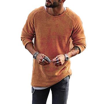 Thời trang nam đan áo thun cổ chữ O màu trơn dài tay thường xuyên vừa vặn