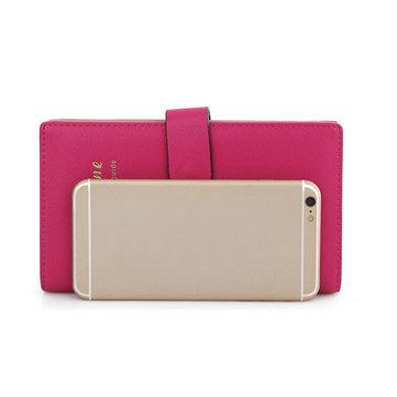 Women Candy Color Hasp Transparent 65 Card Holder Business Credit Card Case Long Wallet