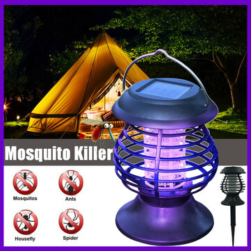 Electric Fly Zapper Mosquito Insect Killer UV LED Purple Tube Light Trap Pest Solar IP65 Working 8 Hours 600mAh Powered Repeller Camping Lawn Light Outdoor/Indoor