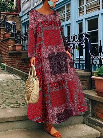 महिला बोहेमियन कॉटन साइड पॉकेट लंबी आस्तीन की पोशाक