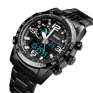 SKMEI 1453 Lujo Hombres Cronómetro Calendario Deporte Acero inoxidable Reloj dual con pantalla digital de Disaplay