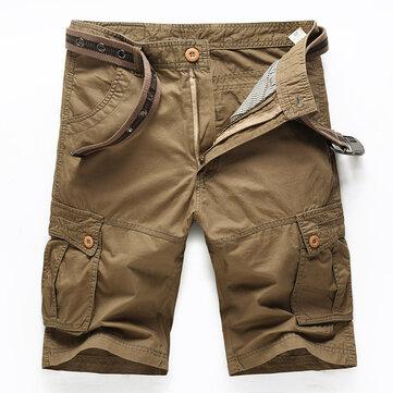 Outdoor Summer Mens Cotton Multi Pockets Solid Color Cargo Breathable Loose Casual Shorts