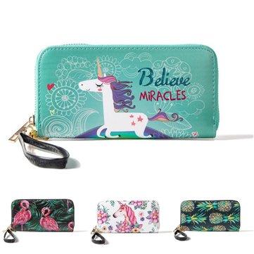 Portachiavi multifunzione Unicorn Donna Portafoglio in pelle Portachiavi Borsa per iPhone Samsung