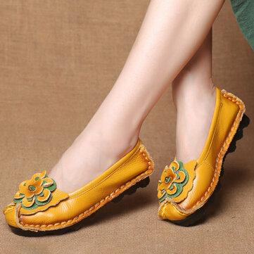 女性の靴カジュアル快適な花の革のフラット