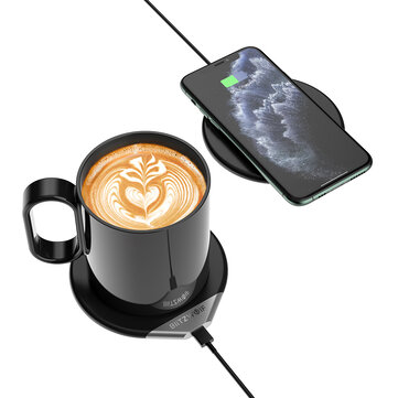 BlitzWolf BW WCC1 2 In 1 Smart Coffee Mug Warmer 55C or 131F and Wireless Charger Milk Tea Beverage Heating Warmer With 350ml Mug 10W Fast Wireless Charging Pad 18W QC3.0 Adapter For Qi enabled Smart Phones Home Office Desk