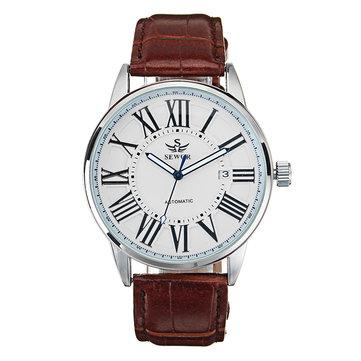 SEWOR Lịch Đồng hồ cơ tự động Kiểu đơn giản Hiển thị tương tự Đồng hồ đeo tay nam