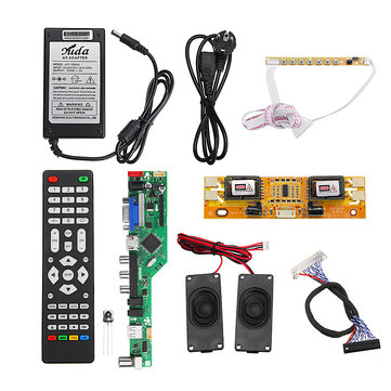 T.RD8503.03 Universal LCD LED TV Controller Driver Board +7 Key button+2ch 8bit 40Pins LVDS Cable+4pcs Lamp Inverter+Speaker+EU Power Adapter