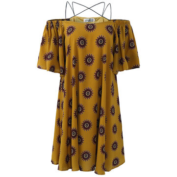 How can I buy Women Sexy Adjustable Strap Dress Cold Shoulder Printed Mini Dress with Bitcoin
