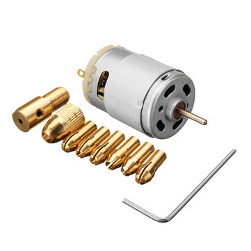 DC 12V 500mA Mirco Motor with 5pcs 0.5-3.0mm Drill Collet Electric PCB Tool Set