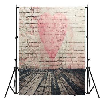 5x7FT Vinyl Love Heart Brick Wall Photography Background Backdrops Photo Studio