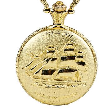 DEFFRUNヴィンテージゴールデンカラーラグジュアリーセーリングボートパターンクォーツポケットウォッチ