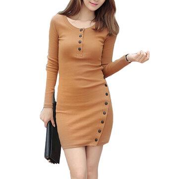 セクシーなボディコーンボタンスプリットロングスリーブワーク女性セータードレス
