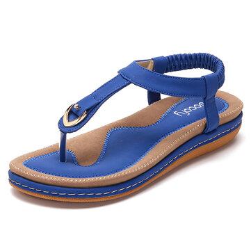SOCOFY  Comfortable Shoes Elastic Clip Toe Flat Beach Sandals US Size 5-13
