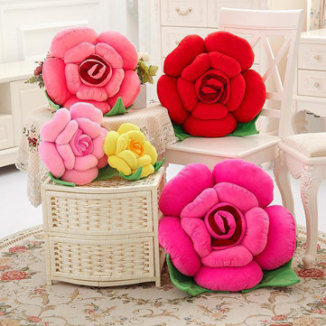 3D Colorful Rose Flowers Throw Pillow Plush Sofa Car Office Back Cushion Valentines Gift