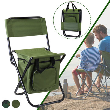 Folding Fishing Chair Camping Storage Bag Cooler Insulated Bag BBQ Picnic Stool Outdoor Hiking Cooking