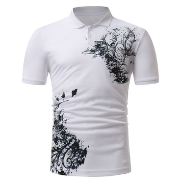 Men's Classic Black White Printing Short-sleeved Golf Shirt Casual Breathable Tops Tees