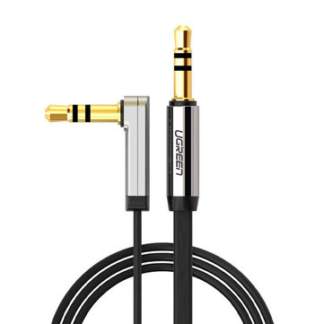 Ugreen AV119 3.5mm Aux Audio Flat Cable 90 Degree Right Angle 1m 1.5m