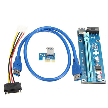 USB3.0 1x To 16x PCI-E Extender Riser Board Card Cable For Mining