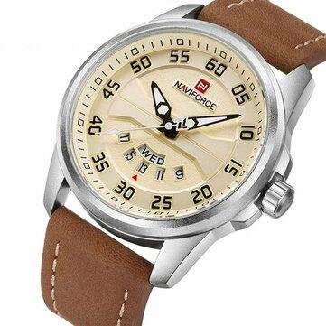 NAVIFORCE NF9124 גברים לצפות ספורט עור רצועה פשוט חיוג זכר קוורץ שעון היד