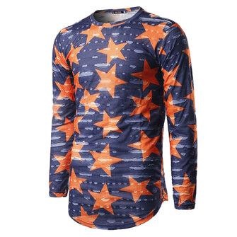 Fashion Unisex Star Printing Ripped Tees Casual O-neck Retro Destroy Hole Long T-shirts