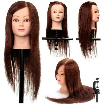 caffè 100% supporto del morsetto pratica reale di formazione capello umano taglio testa di manichino di parrucchiere