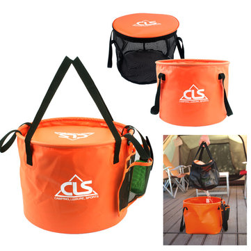 IPRee™ 30L Outdoor Double-Layer Folding Bucket Portable Camp Wash Bag Pouch Mesh Basket