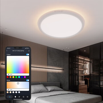 BlitzWolf® BW_CLT1 LED Smart Ceiling Light with Main Light and RGB Atmosphere Light 2700_6500K Adjustable Temperature APP Remote Control Optional & DIY Scene Mode