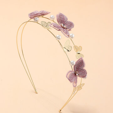 Buy Cloth Handmade Embroidery Romantic Purple Butterfly Headband Hair Accessories with 7 on Gipsybee.com