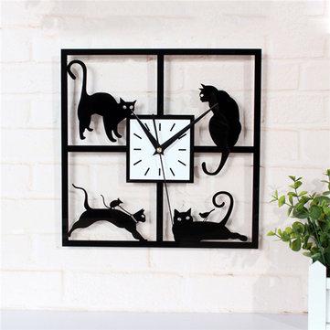 Four Cat Pattern Acrylic Wall Clock Black Quartz Bedroom Living Room