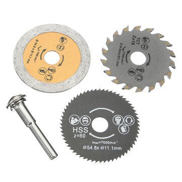 3Pcs HSS 54.8mm Wood Circular Saw Blades with Mandrel Rotary Cutting Tool
