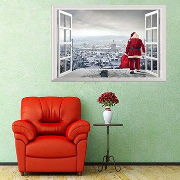 Navidad nuevas pegatinas de pared Santa Claus regalos regalos 3D pegatinas sala de estar decoración del dormitorio fondo de pantalla