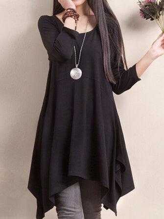 O-NEWE L-5XL आकस्मिक महिला ठोस रंग हेम असममित पोशाक