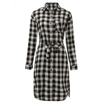 Elegant Women Lapel Button Plaid Split Straight Midi Dress With Belt