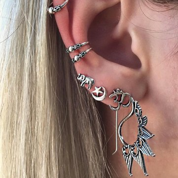 Trendy Antique Silver Earring Set Punk Elephant Star Moon Ear Clip Gift for Women Girl