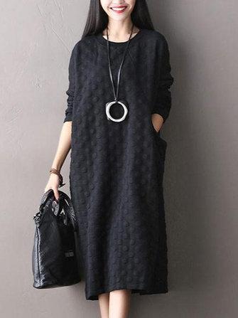 Casual Women O-Neck Long Sleeve Side Pockets Midi Dress