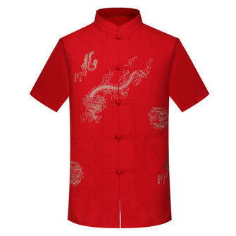 Mens Dragon Totem Casual Tops Short Sleeve Chinese Costume Embroidery Summer Loose Shirt