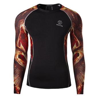 पुरुषों की रागलाण आस्तीन डिजिटल प्रिंटिंग चड्डी त्वरित सुखाने खेल सांस धोने लंबी आस्तीन टी शर्ट