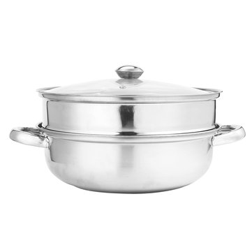 2 Tier 27.5cm Stainless Steel Food Steamer Pot Pan Vegetable Cooker Glass Lid