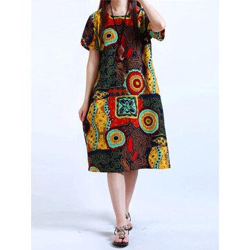 コットン女性のパターンプリント半袖Oネックドレス